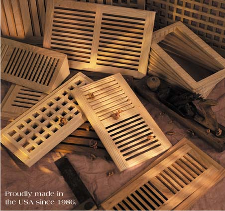 Oak a/c heat grilles registers grates and custom wood vents for floor and wall applications